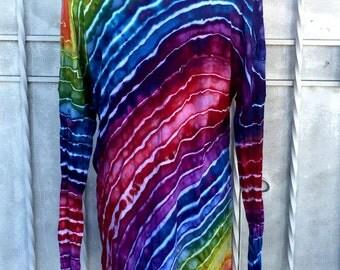 LARGE Rainbow Stripe Geode Ice Dye Tunic | Long-sleeved Tunic Top | Ice Dye Top |  | Lounge Top | Cotton Modal | Rainbow Tunic Top