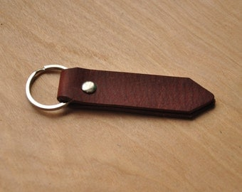 Personalised Simple Dark Brown Leather Key Ring / Key Holder / Key Fob / Key Chain / Leather Lanyard