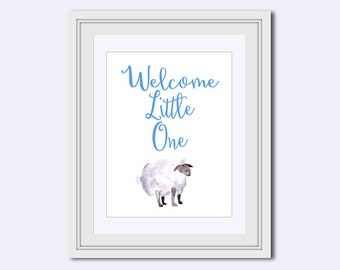 boy nursery art - Nursery Wall Art - nursery decor print - Welcome little one print - baby shower gift - watercolor lamb - boy printable Art