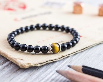 6mm - Black onyx and tiger eye beaded stretchy bracelet, mens bracelet, womens bracelet, onyx bead bracelet, black bead bracelet