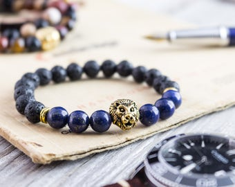 8mm - Black lava stone beaded gold Lion head stretchy bracelet with lapis lazuli, made to order bracelet, mens bracelet, womens bracelet