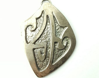 Vintage Sterling Silver Native American Hammer Texture Stamped Glyph Pendant