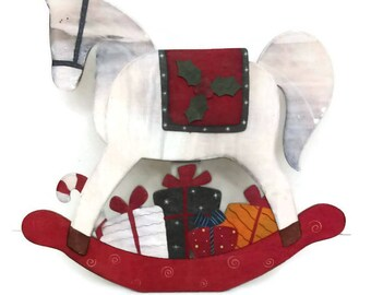Vintage Wooden Rocking Christmas Horse Hand Made Display horse