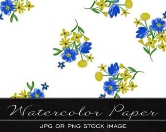 Pretty Blue Floral, digital watercolor paper, drawing, illustration, print, printable, download, scrapbooking, JPG