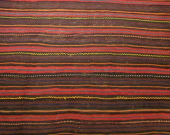 Large Vintage Hand Made Jajim Rug - Tribal Striped Knotted Wool Kelim Kilim Carpet