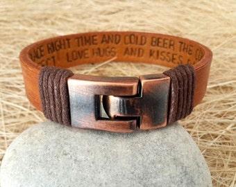 Men's Personalized Bracelet,Men's Leather Bracelet, Anniversary Graduation Gift for Him,Valentines Gift , Handmade Bracelet