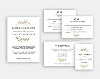Wedding Invitation Template | Wedding Invitation Printable | Wedding Invite Template | Wedding Suite | Instant Download | EDN 5329 Gold
