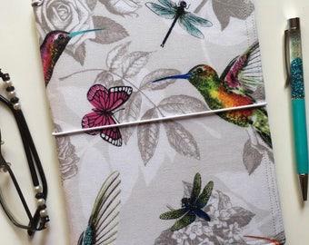 A5 Size Fabric Fauxdori, Midori Style Traveller's Notebook Cover, Ready to Ship - Hummingbird Paradise