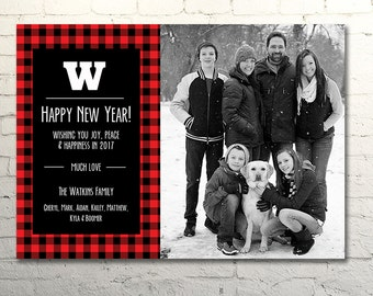 Red Buffalo Check New Year Photo Card