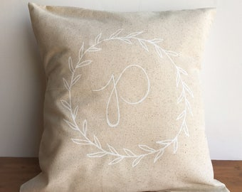 Monogrammed wreath pillow cover