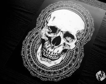 A3 DEATH BLOOMS - Art Print - Human Skull Mandala Intricate Illustration - Pattern - Dotwork Linedrawing - Dark Art - Tattoo - Blackwork