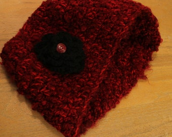 Red Slouchy Cowl Scarf with Black Flower