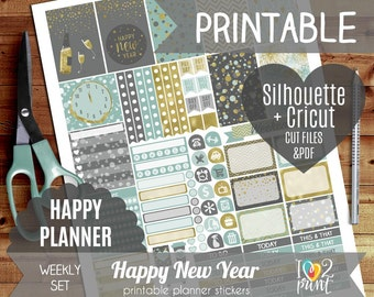 New Year Weekly Printable Planner Stickers, Happy Planner Stickers, Weekly Stickers, HP ...