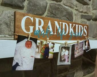 Grandkids Make Life Grand - Wood Sign Decor - Grandparent Gift - Gift For Grandparents - New Grandparent - Picture Holder