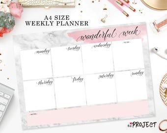 Printable weekly planner marble design