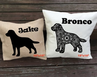 Personalized Labrador Retriever Pillow - Silhouette Pillow - Dog Pillow Cover - Burlap Pillow - Home Decor - Decorative Pillow - Dog Decor