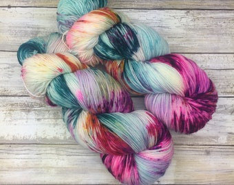 Hand Dyed Yarn | Superwash Merino Wool/Nylon Blend | Fluffy Sock/Fingering Weight | 100 g. | Mermaid Party | 4-ply