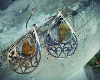 Handmade Silver earrings citrine 9.25