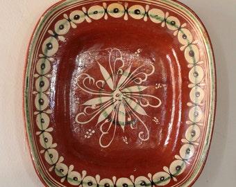 Four vintage Tlanquepaque Mexican redware rectangular bowls, vintage Mexican pottery, Mexican folk art.