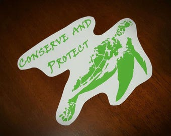 """Vinyl Decal- Sea Turtle """"Conserve and Protect"""""""