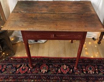 Antique 18th Century Tavern Table Original Top Chippy Red Paint Base Rustic Antique Farmhouse Table Antique Primitive Table Tavern Table