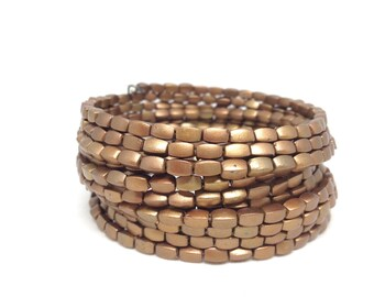 Stunning Estate Beaded Wrap Gold Tone Bracelet