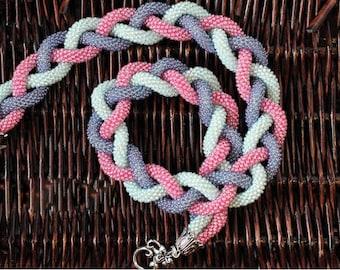 bead white pink beaded braid necklace braid  crochet rope classic bead necklace seed Bead necklace bohemian necklace glass bead necklace