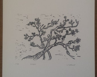 Linocut Branches of almond trees