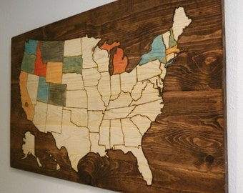 Large Colorable Travel Usa Map Woodburned Track Your Travel Home Decor Wood