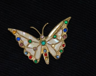 Butterfly Vintage Brooch Pin, Mother Of Pearl, Gold And Jewels, Ladies Brooch, Multi Color Stones In Brooch, 1950's Brooch, Gift For Her