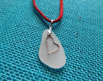 unique sea glass necklace - heart