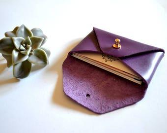 Purple leather card holder / Purple envelope card holder / Purple leather business card case / Genuine leather