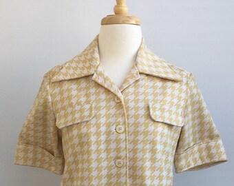 "Vintage ""Delta"" tan/cream houndstooth knit jacket"