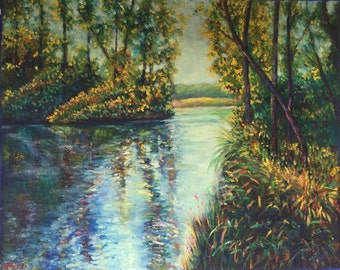 thai forest and water scene oil painting