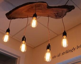Olive Wood Edison Bulb Chandelier