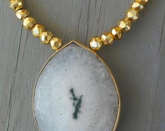 Long Solar Quartz Necklace
