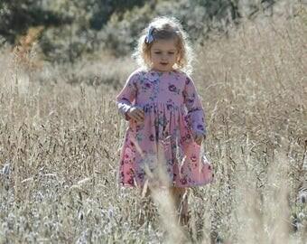 ISLA girls dress. Pink dress. Purple dress. Floral dress. Toddler dress. Baby dress. Girls winter dress