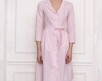 Gingham pink dress