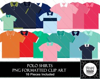 Polo Shirts - 16 Piece Clip Art - Buttoned Shirt Collars - PNG Formatted #104