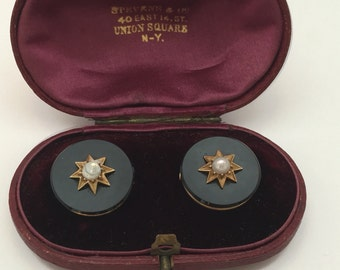 Antique Onyx and Pearl cufflinks comes in original box by Stephens and Co. NY marked 18