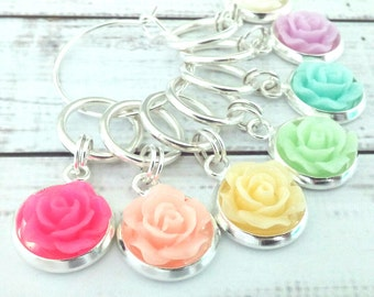 flower stitch markers - knitting crochet rainbow roses - place holders knitting or crochet - notions for knitters
