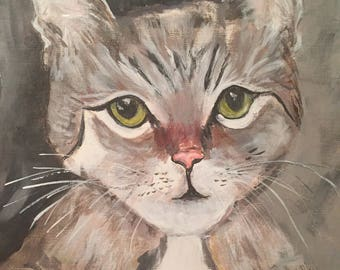 Gray Tabby - original acrylic painting