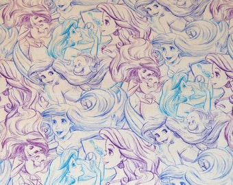 LITTLE MERMAID FABRIC! Sketch Design / 1/2 Yard For Quilting - Cotton / Ariel - Flounder / Lavender - Aqua