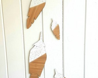 Bamboo wall decor feathers