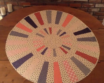 Pink and Navy Round Quilt