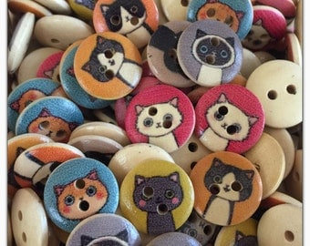 15 or 30 Cat buttons, random mix cat faces, kitty cat buttons, pink cat buttons, scrapbooking, sewing, crafts, painted cat button, 15mm 5/8""