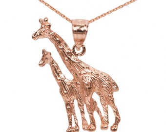 10k Rose Gold Giraffe Necklace
