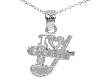 14k White Gold Golf Necklace