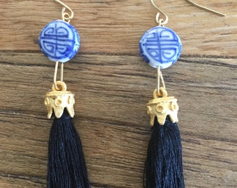 SALE | BLACK Chinoiserie Mini Tassel Earrings | blue and white, gold