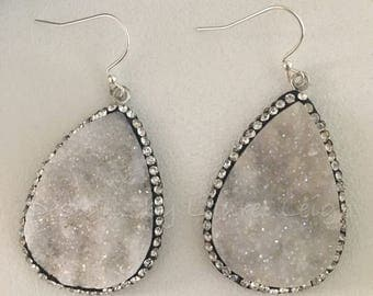 SALE | White Druzy Agate Earrings | silver, dressy, pavé, teardrop, dangle, statement earrings